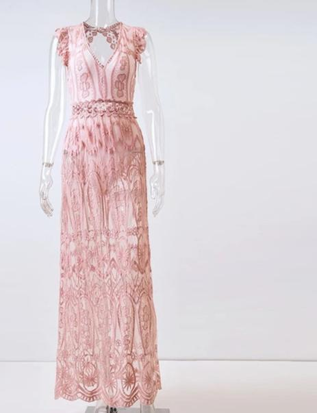 Vestido Longo de Renda  Transparente - Efashion