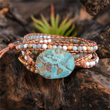 Bracelete  Boho Chic Hand Made Turquesa e Jasper - Efashion