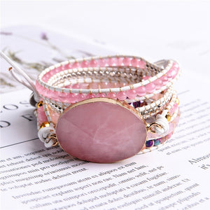 Bracelete Hand Made Quartzo Rosa - Efashion