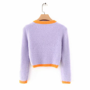 Cardigan Cropped Manga Longa - Efashion