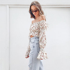 Cropped Floral Ombro a Ombro Manga longa - Espavo store