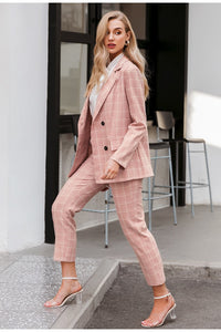 Blazer Pink Office Xadrez - Efashion