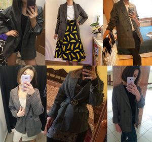 Blazer  Oversized  Xadrez - Efashion