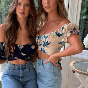 Top Cropped Off Shoulder Floral - Espavo store