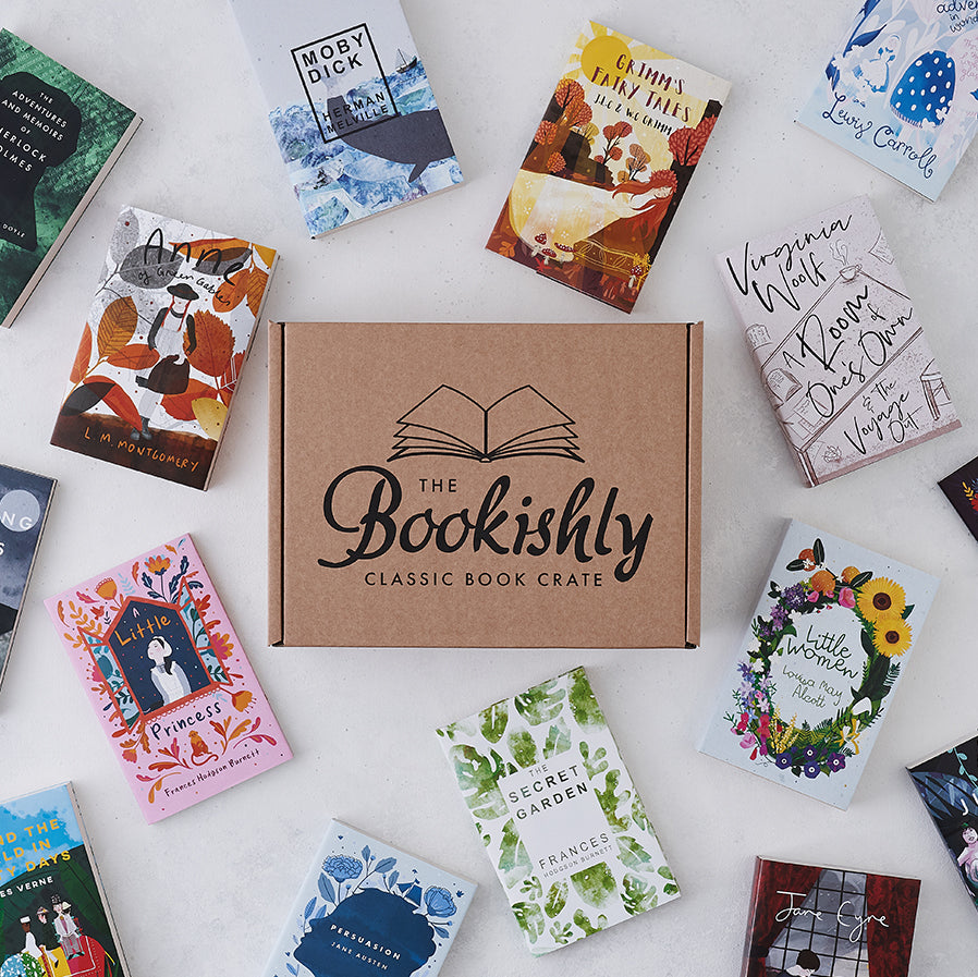 Bookishly's classic book crate featuring a unique literary classic, your bi-monthly book subscription box.