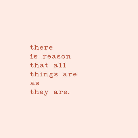 There is reason that all things are as they are.