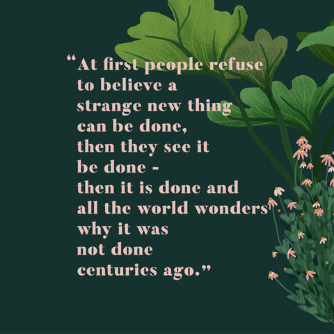 """At first people refuse to believe a strange new thing can be done, then they see it be done - then it is done and all the world wonders why it was not done centuries ago."""