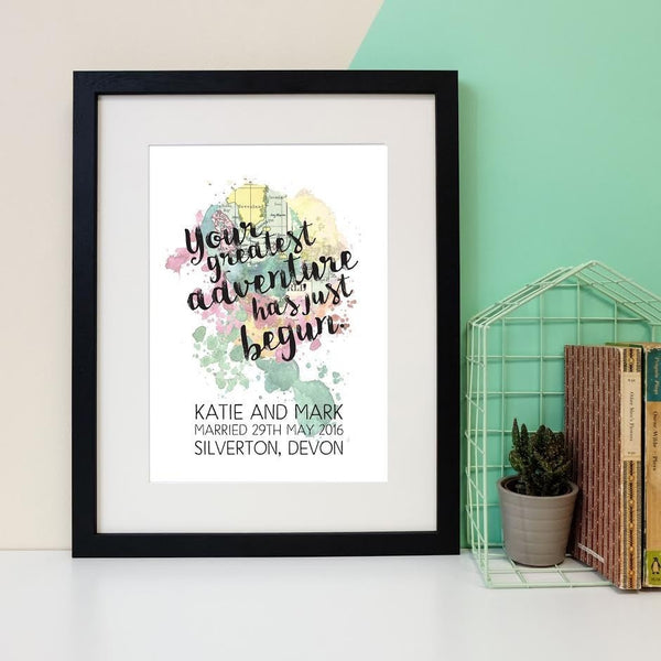Personalised Wedding Print - Your Greatest Adventure Has Just Begun