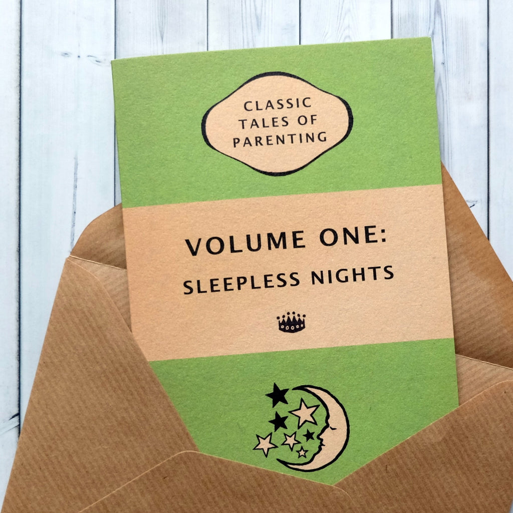 "New Baby Card ""Volume One: Sleepless Nights"" - Green Book Cover Design(183)"