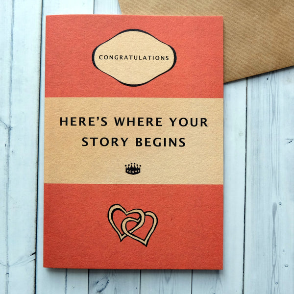 "Wedding Card ""Here's Where Your Story Begins"" Orange Book Cover Card (185)"