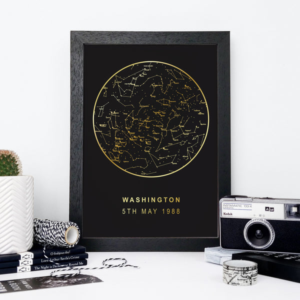 Personalised Star Chart Print - Black + Gold Foil