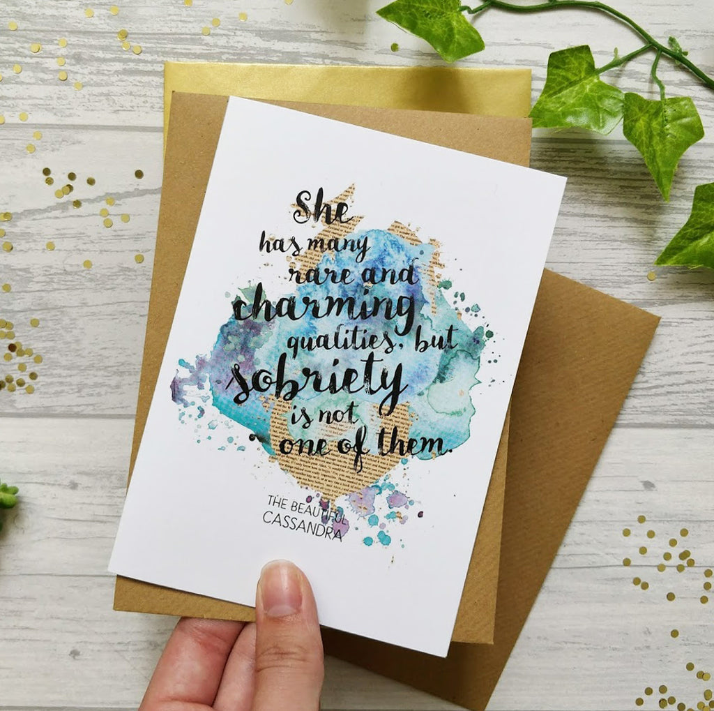 'Charming Qualities' Funny Jane Austen Quote Card