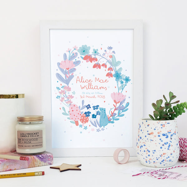 Personalised New Baby Birth Date Print - Floral Wreath Design
