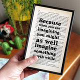 "Anne Of Green Gables ""Imagining"" Quote - Framed Book Print"