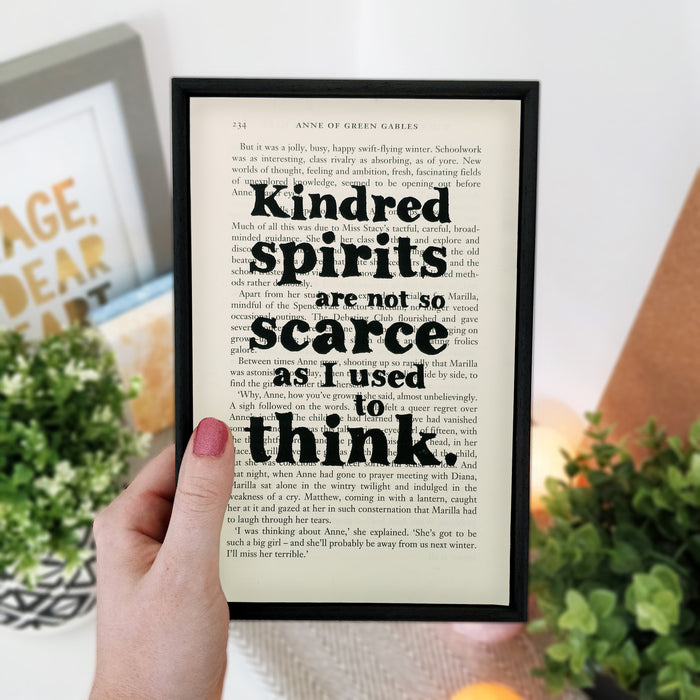 "Anne Of Green Gables Quotes ""Kindred Spirits"" Framed Book Page Art"