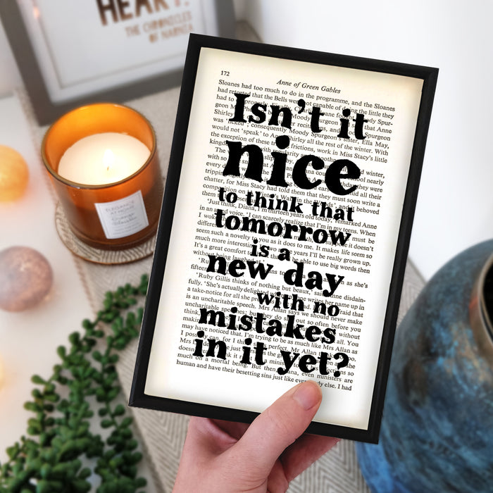 "Anne of Green Gables Quote ""Tomorrow Is A New Day"" Book Page Print"