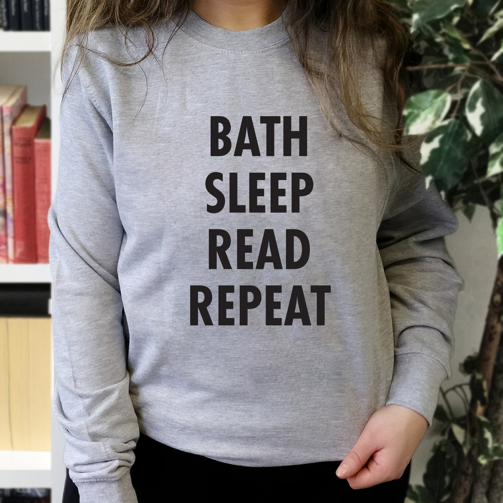 "Book Lover ""Bath, Sleep, Read, Repeat"" Sweatshirt"
