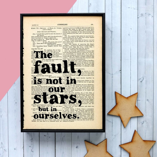 "Shakespeare ""The Fault In Our Stars"" - Framed Book Page Quote"
