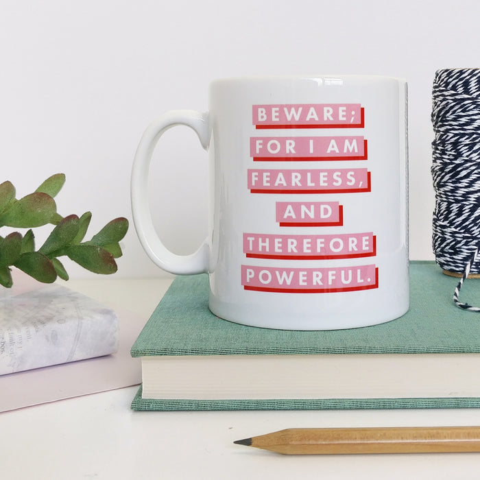 "Pink & Red ""Fearless"" Feminist Quote Mug"
