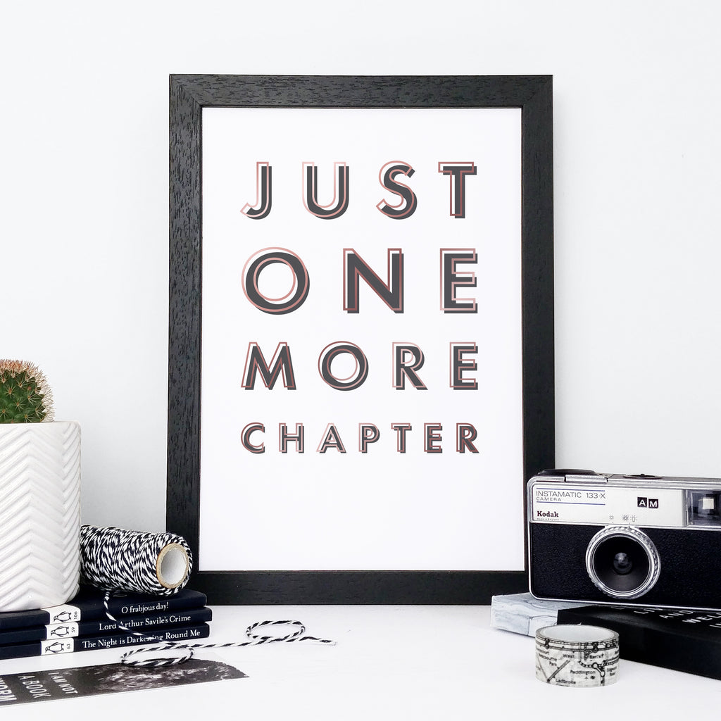 """Just One More Chapter"" Book Lover Framed Print"