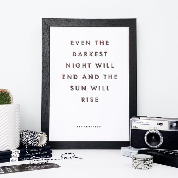 Sympathy 'Darkest Night' Black & Copper Typography Print