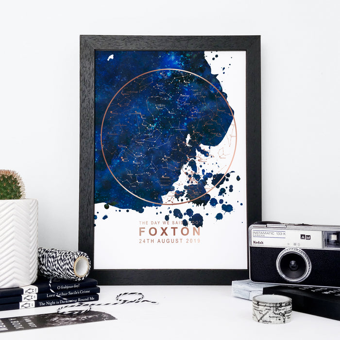 Personalised Navy and Gold Foil Star Map Unique Gift Idea