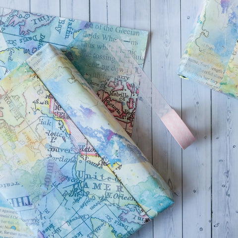 Pack Of Five Small Wrapping Paper Sheets - Vintage Map And Blot Design