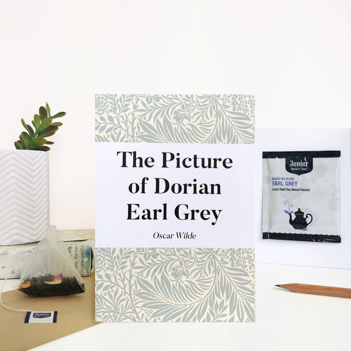 Literary Tea Pun Card With Tea Bag - 'Dorian Earl Grey'