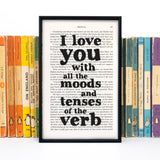 "Dracula ""I Love You With All The Moods And Tenses"" - Framed Romantic Book Page Quote"