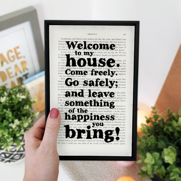 "Dracula Quote ""Welcome To My House"" Welcome To Our Home Book Page Print"