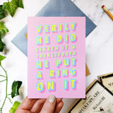 Funny Engagement 'He Did Liketh It' Congratulations Literary Shakespeare Card