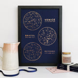 Personalised Foil Multiple Map of the Stars Unique Gift