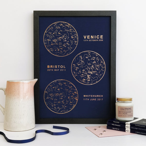 Personalised Foil Multiple Star Chart Print