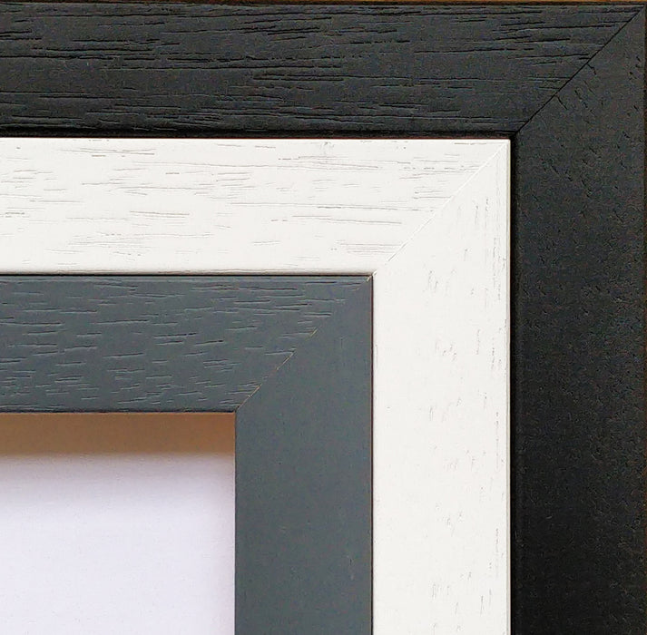 Grey, White and Black framing options