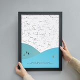 Personalised Scandi Landscape Star Map Print - Bright Blue
