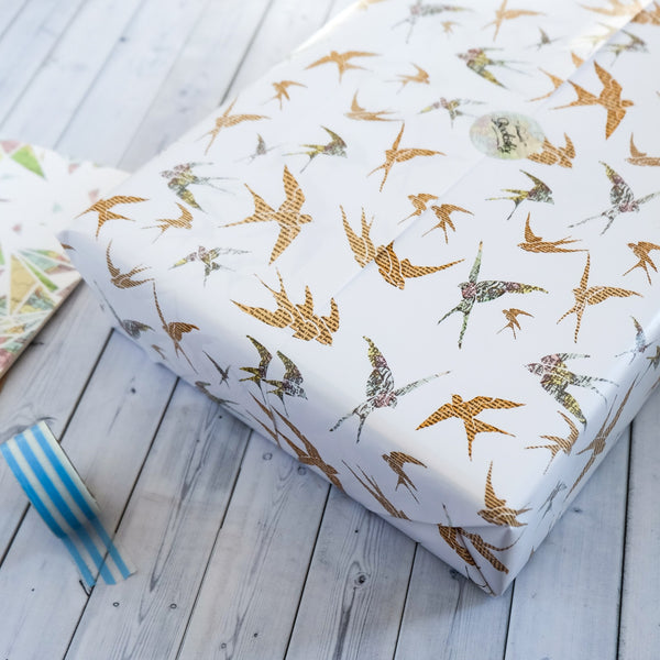 Wrapping Paper Sheets - Map And Book Page Swallows Design
