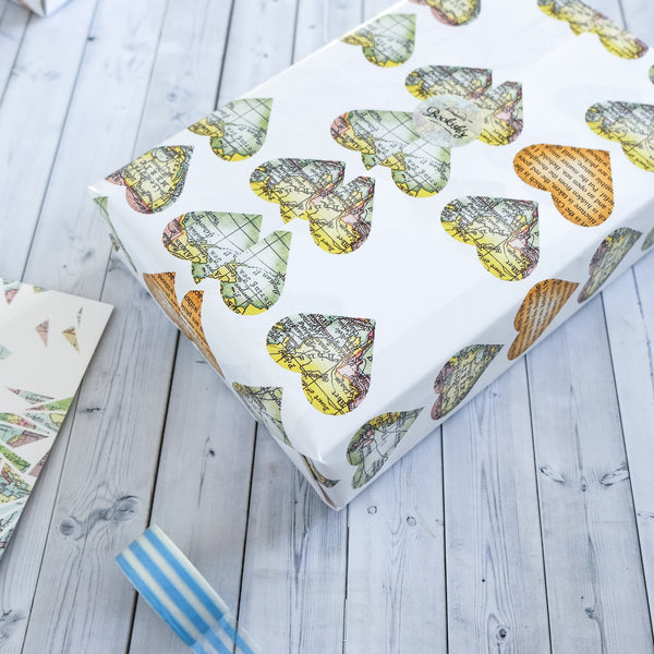 Wrapping Paper Sheets - Map And Book Page Hearts Design