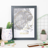 Personalised Grey Blot and Rose Gold Foil Star Map Unique Gift Idea Bookishly