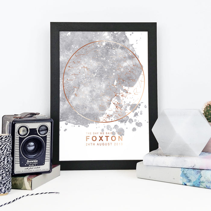 Personalised Map of the Stars Print - Grey Blot and Rose Gold