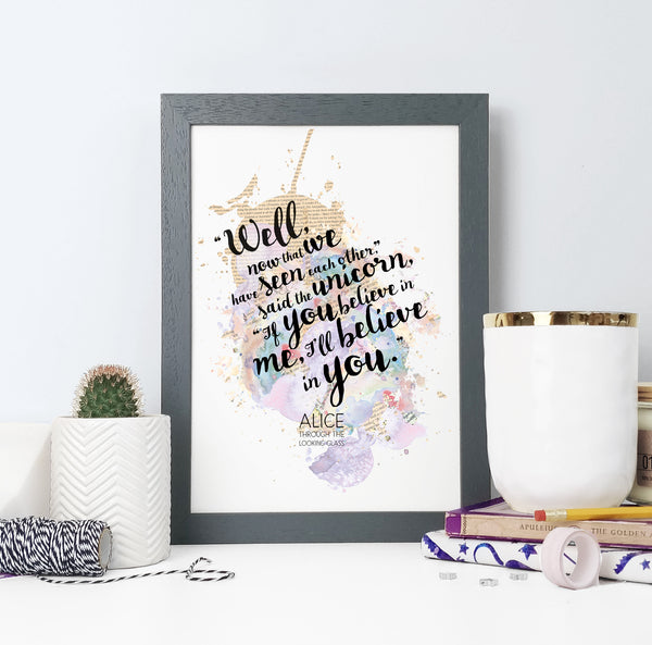 """If You Believe In Me, I'll Believe In You"" Alice In Wonderland Quote - Watercolour Print"