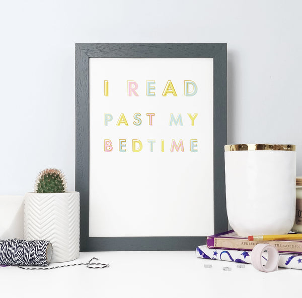 """I read past my bedtime."" Rainbow Framed Print for Book Lovers"