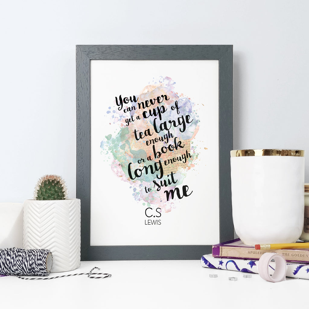 'You can never get a cup of tea large enough or a book long enough to suit me.' Watercolour Framed Print for Literary Lovers