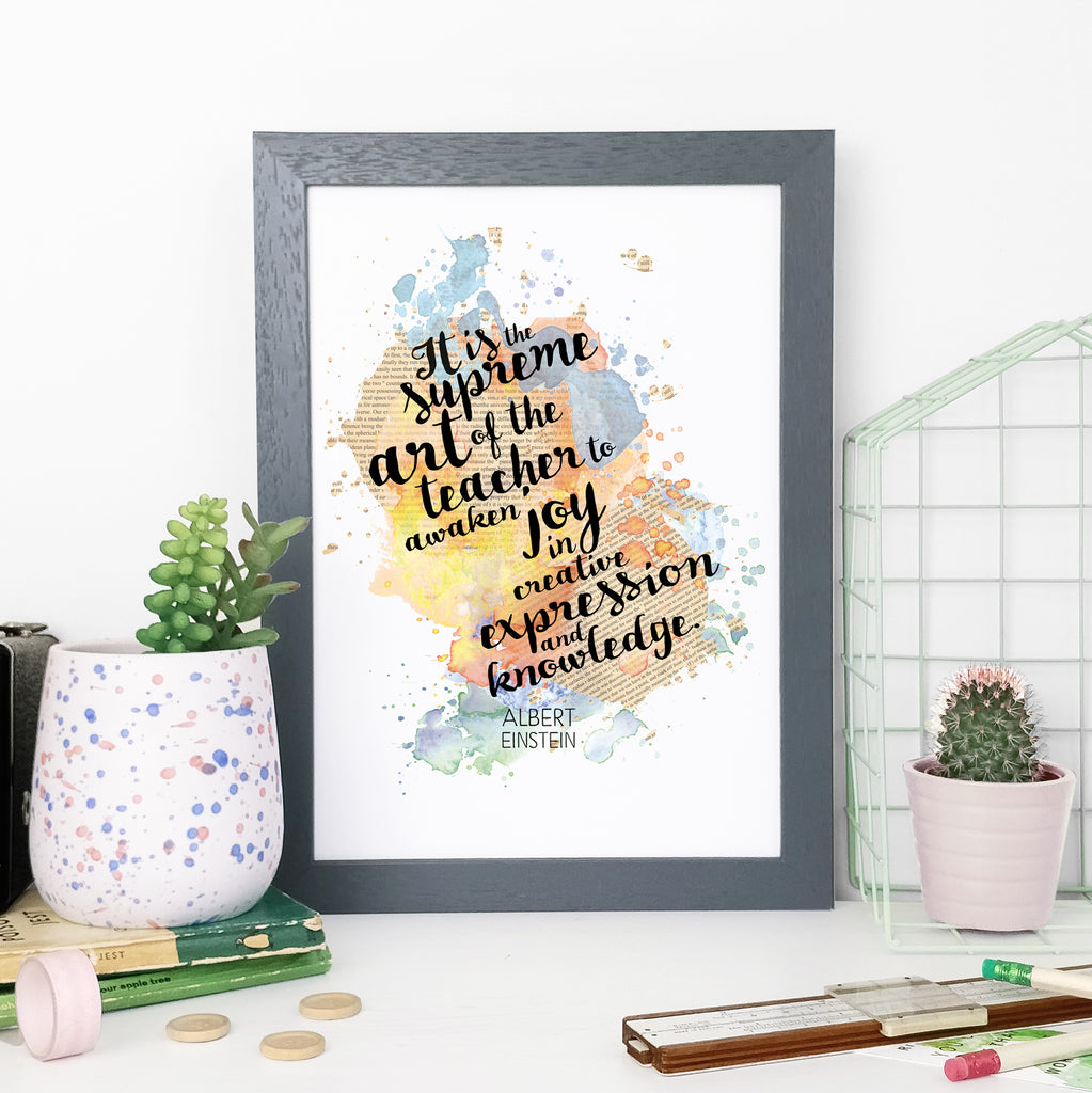 """It is the supreme art of the teacher to awaken joy in creative, expression and knowledge."" Einstein Framed Watercolour Print"
