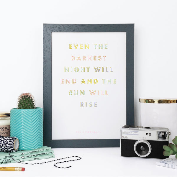 Sympathy 'The Sun Will Rise' Pastel Gold Foil Typography Print
