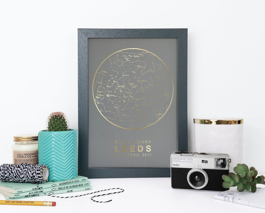 Personalised Map of the Stars Print - Grey and Copper