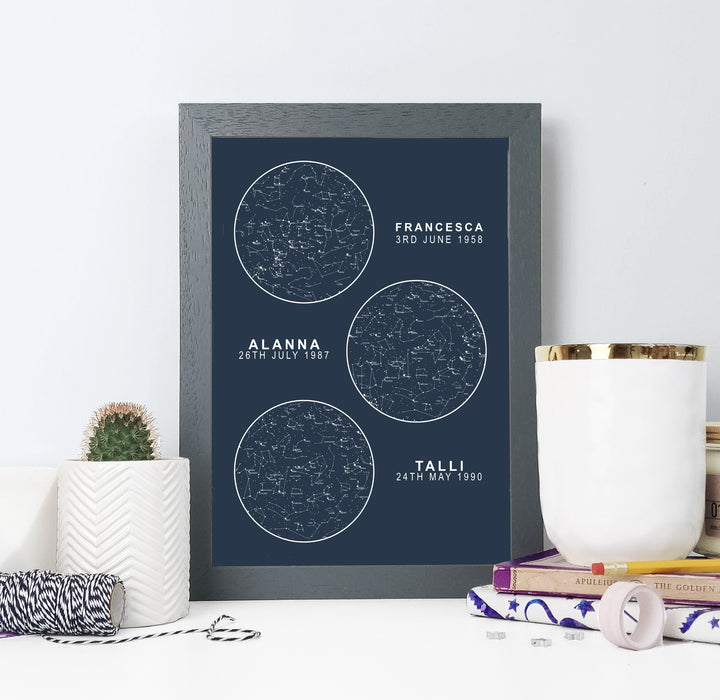 Personalised Map of the Stars Multiple Unique Gifts Navy and Silver