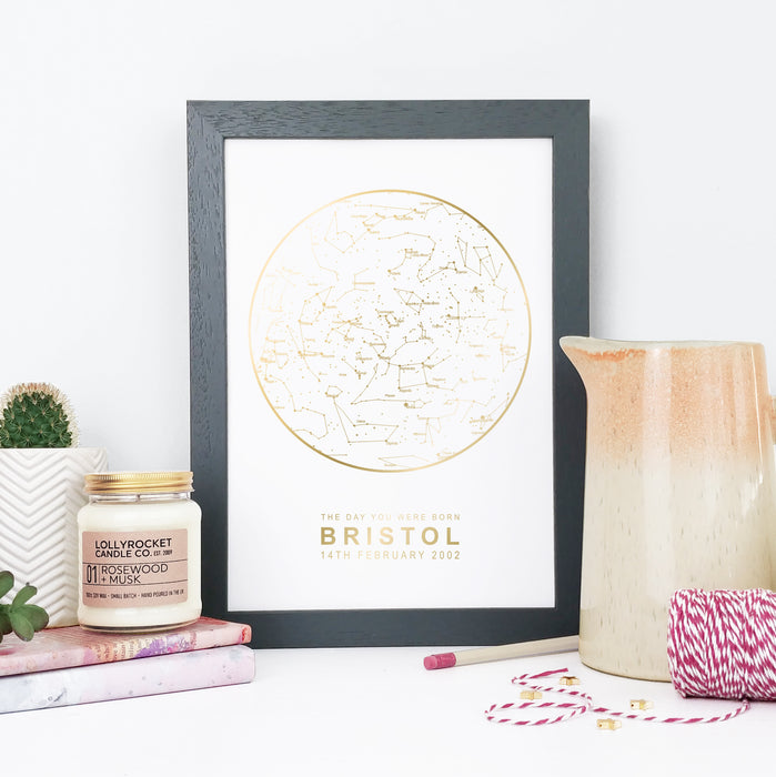 Personalised White and Gold Foil Star Map Unique Gifts