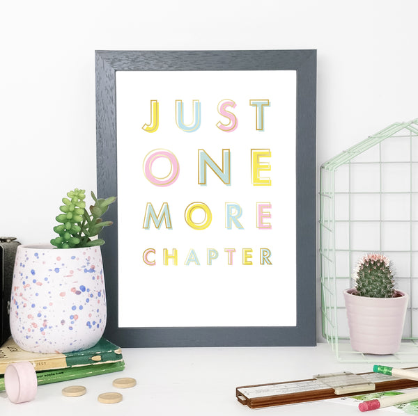 """Just one more chapter."" Framed Rainbow Print for Book Lovers"