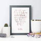 Gold Foil  Peter Pan 'Like An Adventure' Calligraphy Print