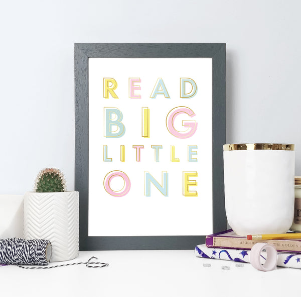 Children's 'Read Big' Pastel Gold Foil Typography Print